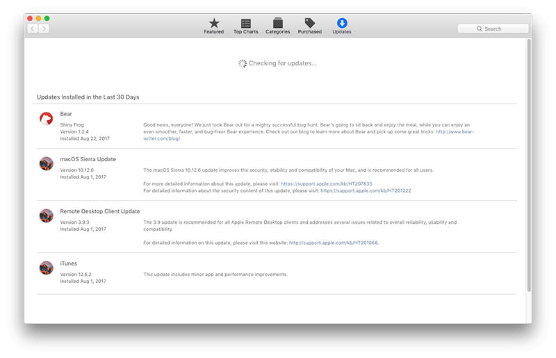 check macOS update