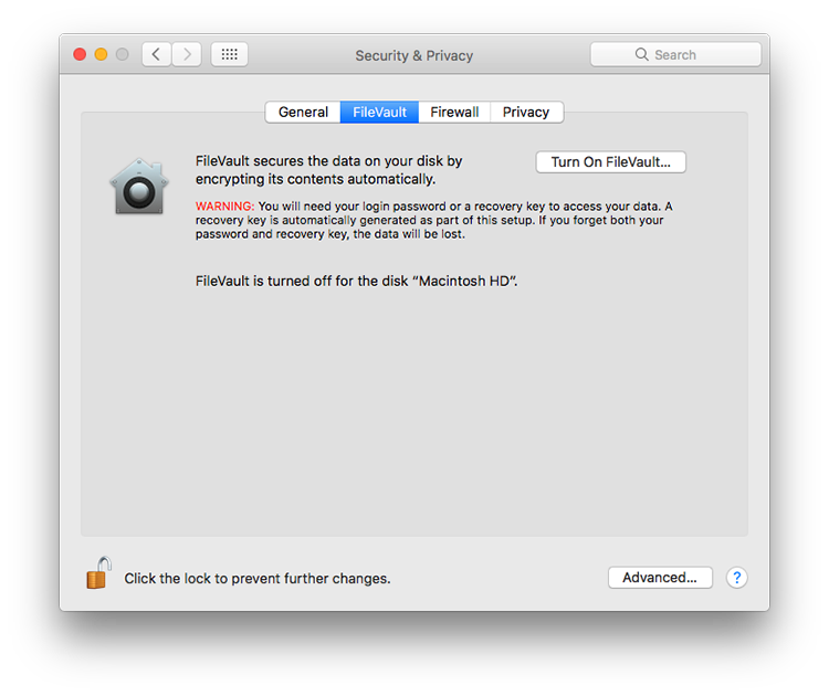 firevault on mac