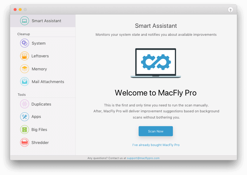 welcome screen macfly pro