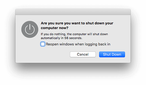 shut down mac
