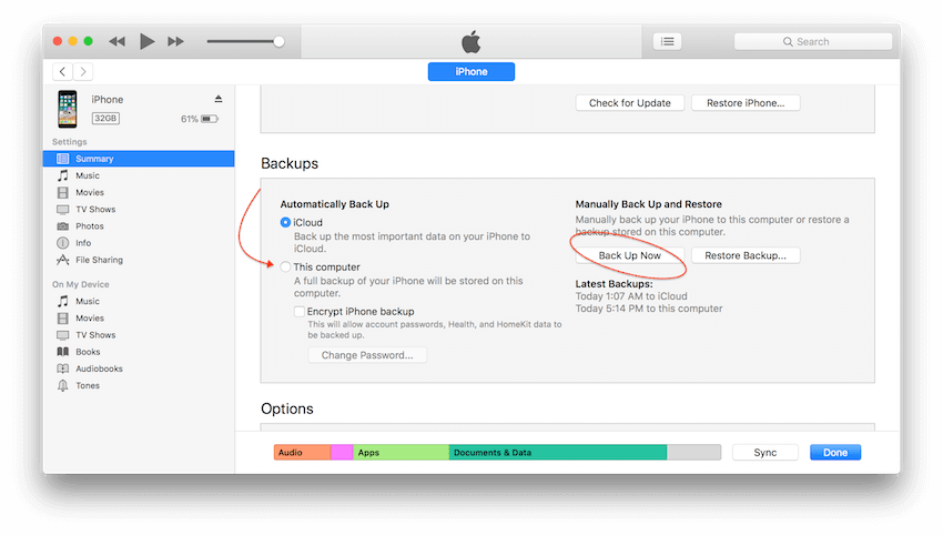 itunes cancel automatic backup
